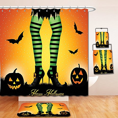 Nalahome Bath Suit: Showercurtain Bathrug Bathtowel Handtowel Halloween Decorations Cartoon Witch Legs with Striped Leggings Western Culture Concept Bats and Pumpkins (Mario Bros Pumpkin)