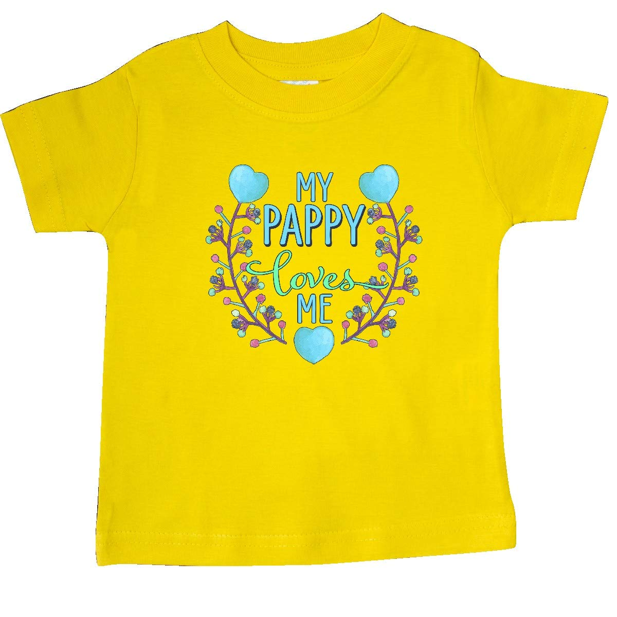 inktastic My Pappy Loves Me with Flowers and Hearts Baby T-Shirt