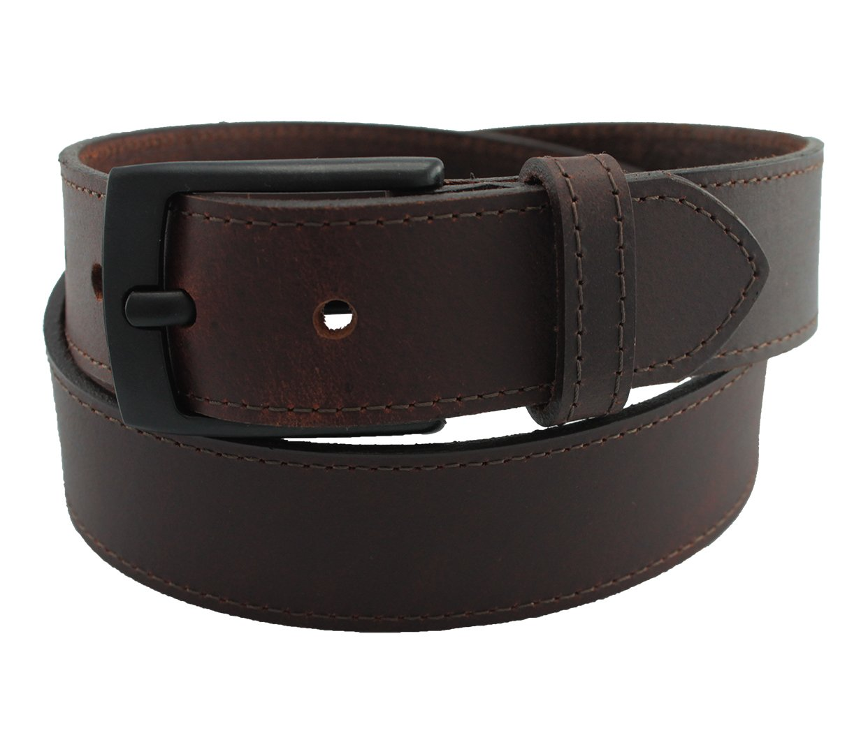 Highliner Made in USA Metal Free Travel Leather Belt by Thomas Bates (36, Brown)