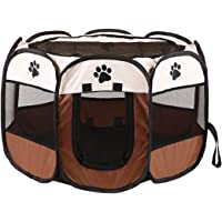 SOKLIT Foldable Pet Playpen Travel Pet Carrying Case with Water Resistant and Removable Shade Cover for Dog/Cat/Rabbit