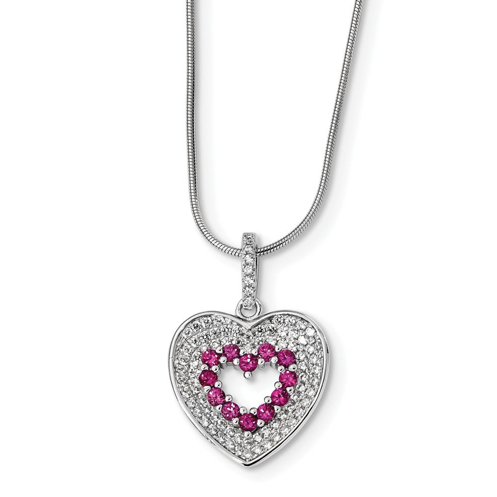 Brilliant Embers Heart Necklace 925 Sterling Silver With Rhodium-Plated CZ Cubic Zirconia 18 Length