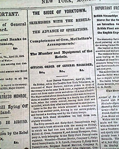 SIEGE OF YORKTOWN VA Shiloh P. G. T. Beauregard Death ? 1862 Civil War Newspaper THE NEW YORK HERALD, April 14,...