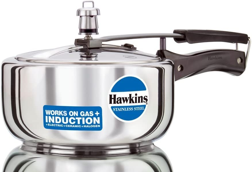 Hawkins Stainless Steel B60, 3 Litre Pressure Cooker Suitable for Gas, Electric, Ceramic, Halogen, Kerosene Stoves and Induction Cooktops - Stays Bright, does not Corrode, Easy to Clean and Hygienic