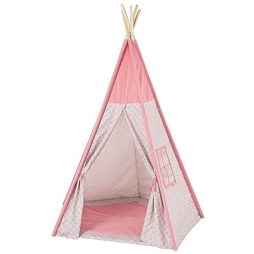 howa Tipi tente de jeu star rose / gris avec tapis 8501