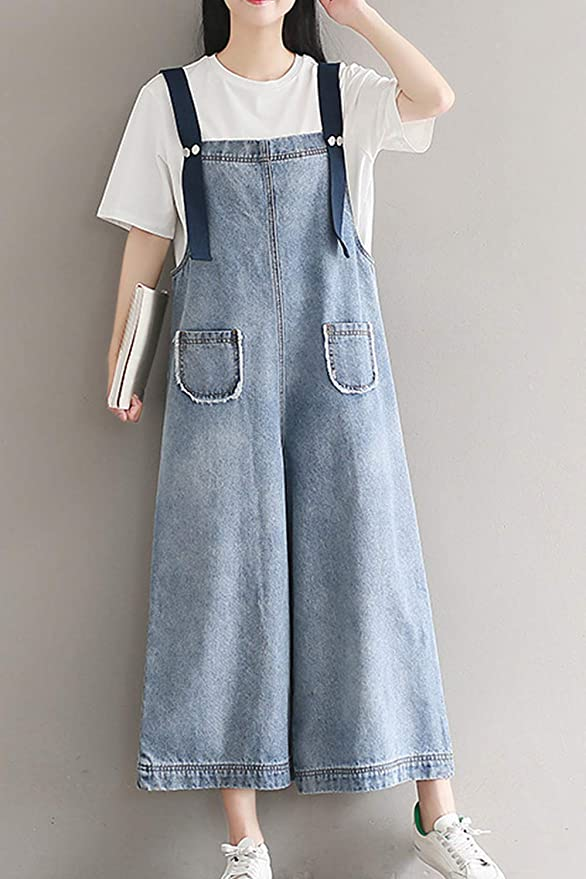 6e376c0638510 Zilcremo Femmes Denim Combinaisons Body Manches Palazzo Pantalon Long  Pantalon Salopette: Amazon.fr: Vêtements et accessoires
