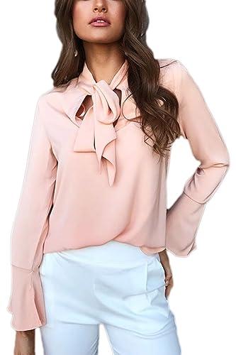 Elegante Bowknot Mujeres Tops De La Camiseta De Manga Larga Tunica Blusa De Gasa