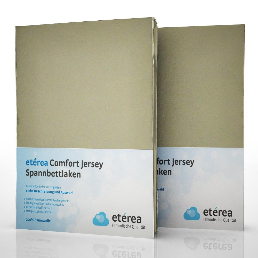 Etérea 2er / Doppelset Comfort Jersey Spannbettlaken Spannbetttuch ...