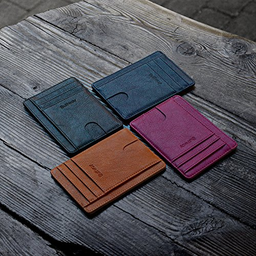 Slim Minimalist Leather Wallets for Men & Women - Bassa Purple