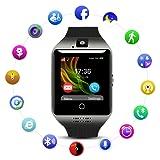 Montre Connectée pour Android avec Caméra/Slot de SIM SD Carte,Qimaoo Q18 Écran Tactile Bluetooth Smart watch avec Podomètre,Sommeil,Calories pour Samsung Galaxy S6/S7/S7 Edge/S8 Huawei P8/P8 Lite/P9(Noir+Noir)