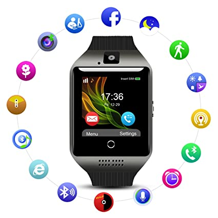 QIMAOO Q18 Smart Watch Smartwatch Sports Fitness Tracker Bluetooth Wrist Watch with Camera TF/SIM Card Slot Sweatproof Phone for Men Women Kids Girls ...