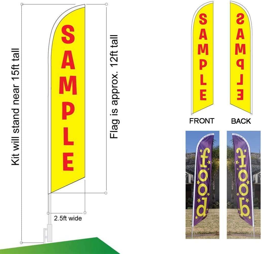 Topsoil Sold Here Advertising Feather Banner Swooper Flag Sign with Flag Pole Kit and Ground Stake for Businesses Patriotic Theme