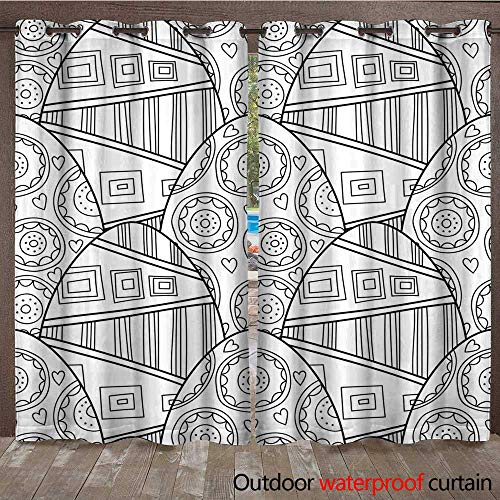 RenteriaDecor Home Patio Outdoor Curtain Easter Eggs Black and White Seamless Pattern for Coloring Books Pages Vector W84 x L108