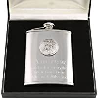 Son Xmas Gift, Engraved 6oz Stainless Steel Hip Flask with Pewter Rugby Feature in a Gift Box