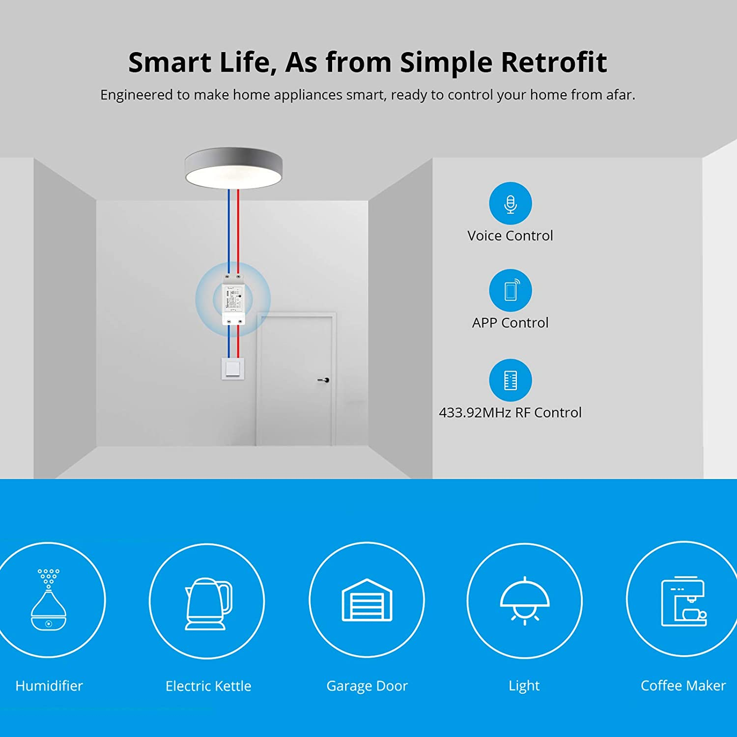 SONOFF Basic R2 10A Smart WiFi Wireless Light Switch, Universal DIY Module for Smart Home Automation Solution, Works with Amazon Alexa & Google Home Assistant, Works with IFTTT, No Hub Required