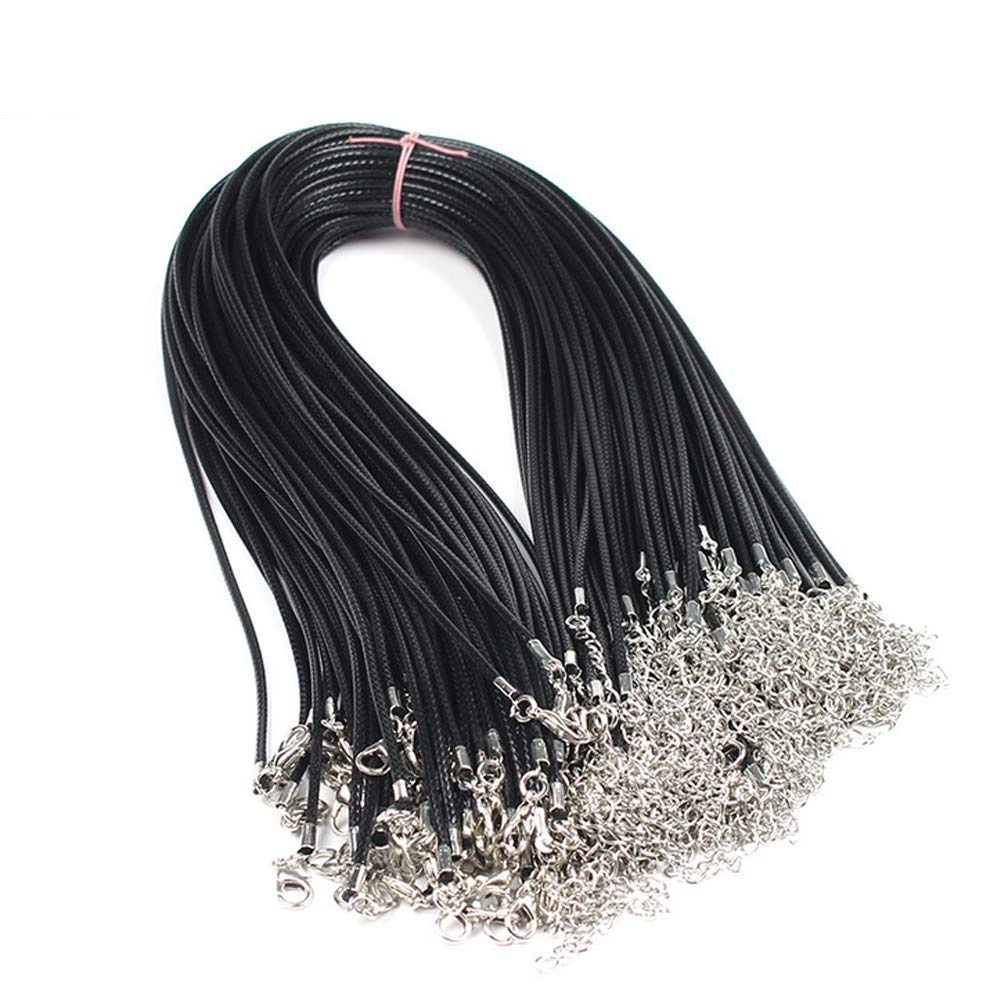 2 Inches Extender Chain 50 PCS 1.5mm Waxed Leather Necklace Cord Pendant Cord with Extender Chain and Lobster Clasp for Necklace Pendants DIY Accessories 18 Inches Cord Black