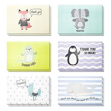 Amazon.com: Tarjetas de agradecimiento en blanco con diseño ...
