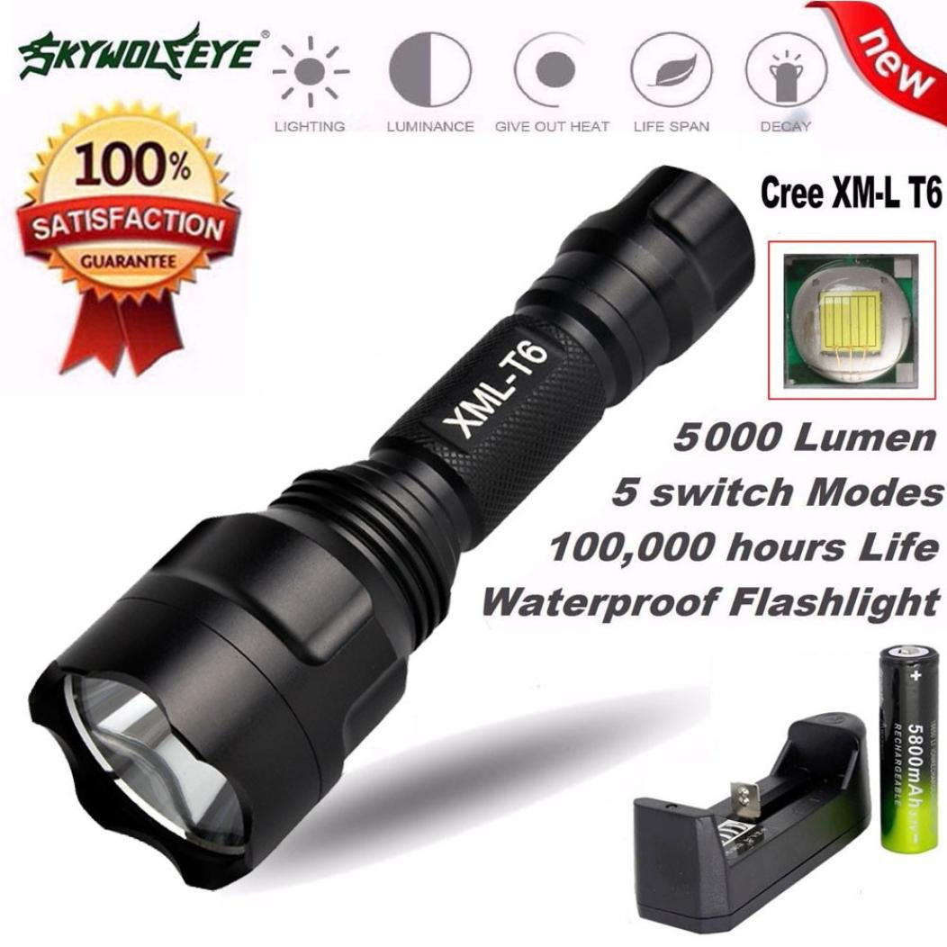 ZYooh XML T6 LED Tactical Flashlight,Underwater X800 Zoomable Amazingly Bright 5000Lumen 5-Modes Flashlight Waterproof Torch Light Lamp+Rechargeable Battery+Flashlight Holder