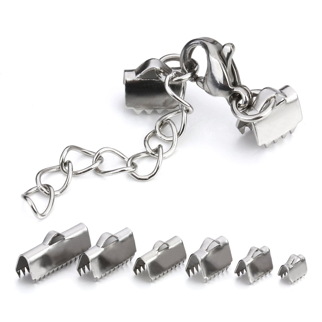 Linsoir Beads Stainless Steel 13mm Ribbon End Clamp Crimps with Lobster Clasp and Extension Chain Flat Crimp End Clamps Cord Ends 10 Sets