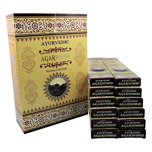 Ayurvedic Agarwood Masala Incense Sticks Pack of 12 Boxes 15gms Each Aids in Spirituality, Enlightenment, Meditation, Purification, Cleansing, Relieves Anxiety, Invokes Strength, Peace