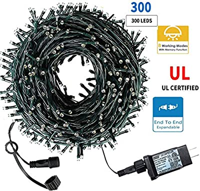 Dianzan Christmas String Lights 105Ft 300 LEDs with UL Certified End-to-End Expandable Plug, 8 Modes Waterproof Outdoor Indoor Fairy String Lights for Party,Garden, Wedding, Holiday, (Warm White)