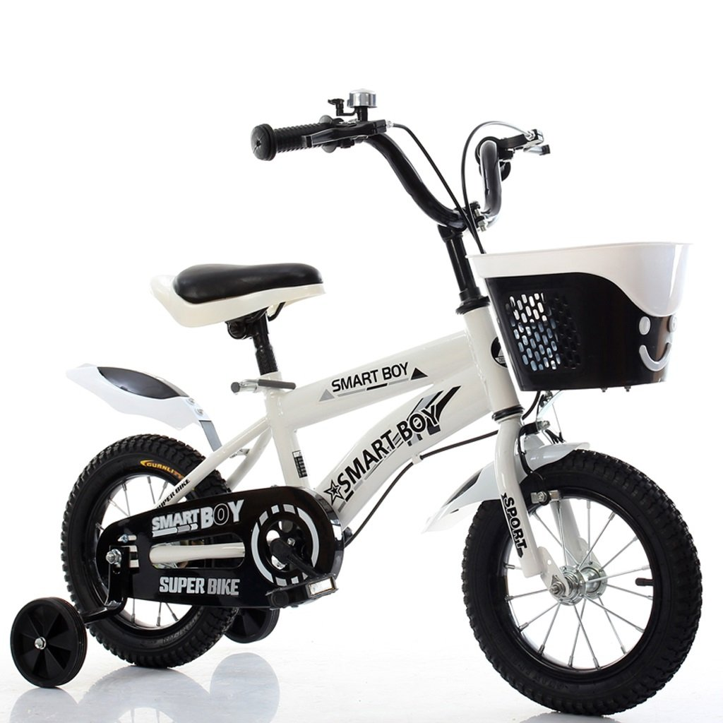 yxgh-子供の自転車3 – 3 - 5 – 6-9 Years Old Boys and GirlsベビーCarriage 12 /14 /16 /18インチKid 's Bike withトレーニングホイールホワイト B07D9N9Z4Q 14
