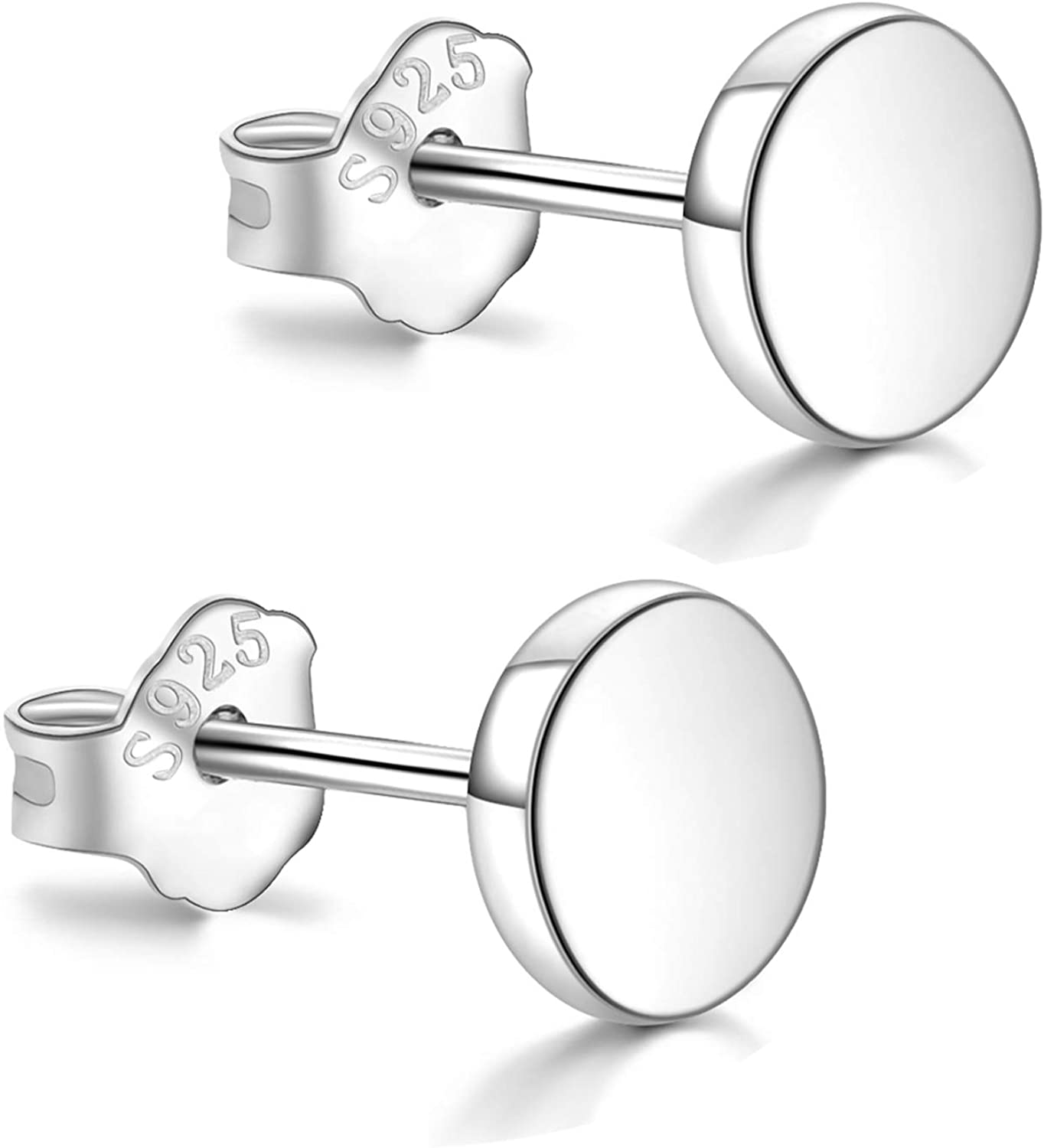 White Gold Plated Sterling Silver Dot Stud Earrings 3mm-8mm Options, Flat Round Disc Studs Hypoallergenic Jewelry 61cB8PfwLIL