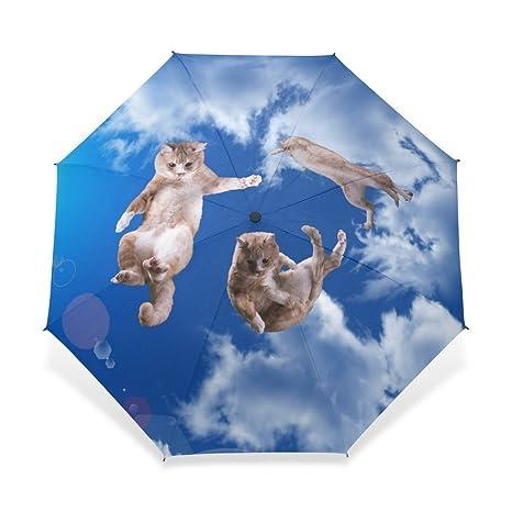 Super Super Star tres gatos patrón DIY Custom plegable paraguas paraguas resistente al viento resistente al