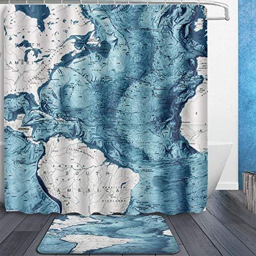 MAHENSHANGM Atlantic Ocean Floor South America American Map 2 Set Bathroom Set 60X72in Shower Curtain 15.7x23.6in Bath Mats Floor Doormat Rugs