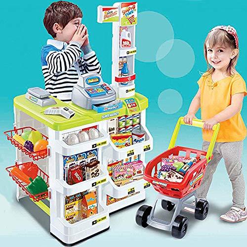 (MCJL Children's Simulation Supermarket Toys, Combination - Shopping cart Scanner Weighing Instrument Kitchen Birthday Gift boy Girl Children's Toys,Green)