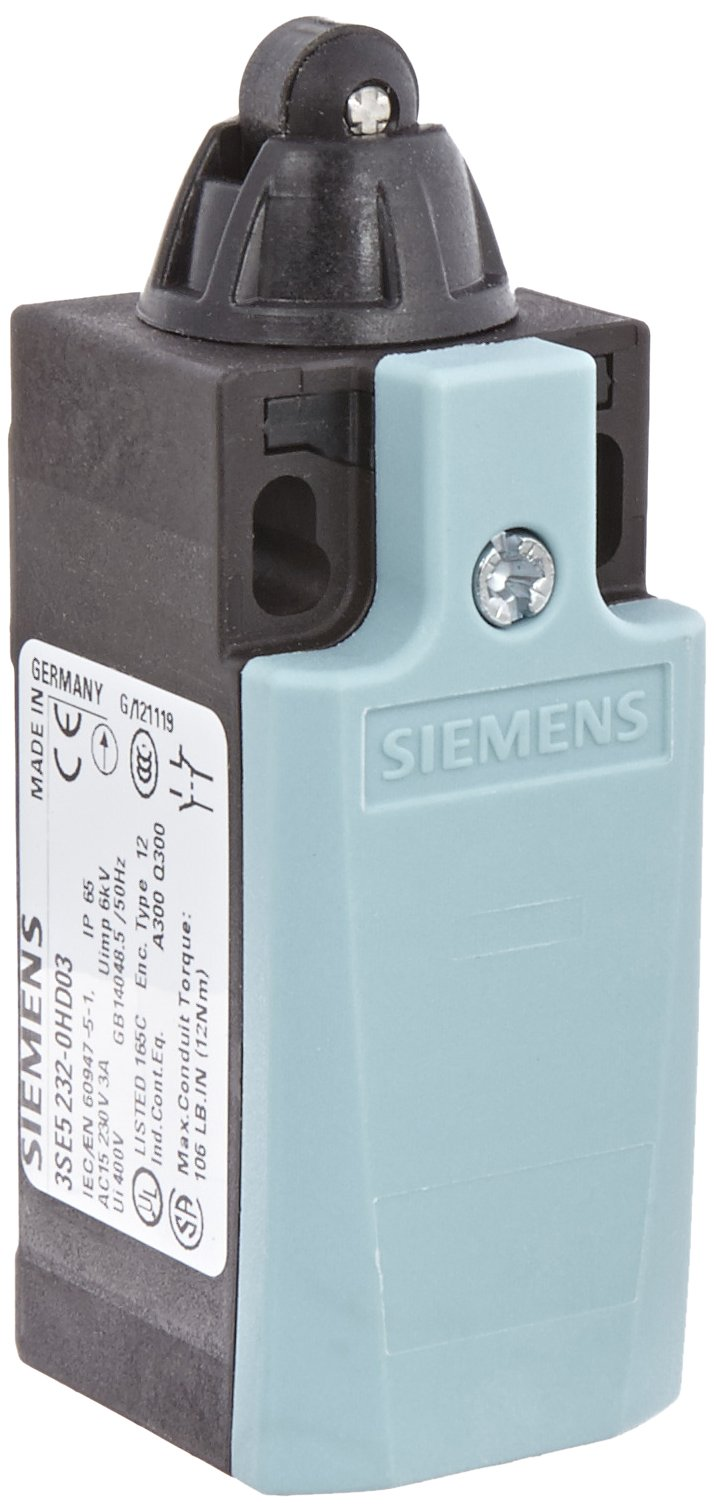 Siemens 3SE5 232-0HD03 Mechanical Position Switch, Complete Unit, Plastic Enclosure, 31mm Width, Roller Plunger, 10mm Plastic Roller, Snap Action Contacts, Integrated, 1 NO + 1 NC Contacts