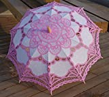 Worldoor®Brand New Pink Lace Parasol Victorian Battenburg Sun Umbrella for Bridal Party Wedding Decoration