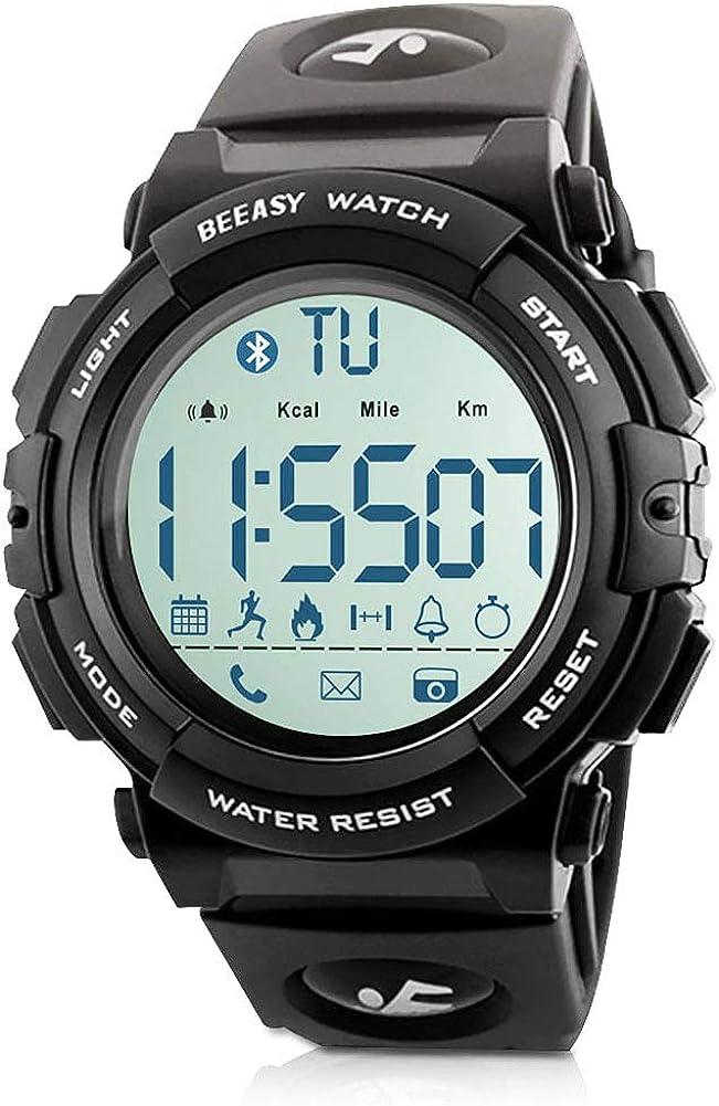 Beeasy Reloj Deportivo Hombre,Relojes Digital Impermeable Watches Inteligente Bluetooth Fitness Tracker Contador Calorías Podómetro Cámara Remota App Notificación de Llamadas SMS