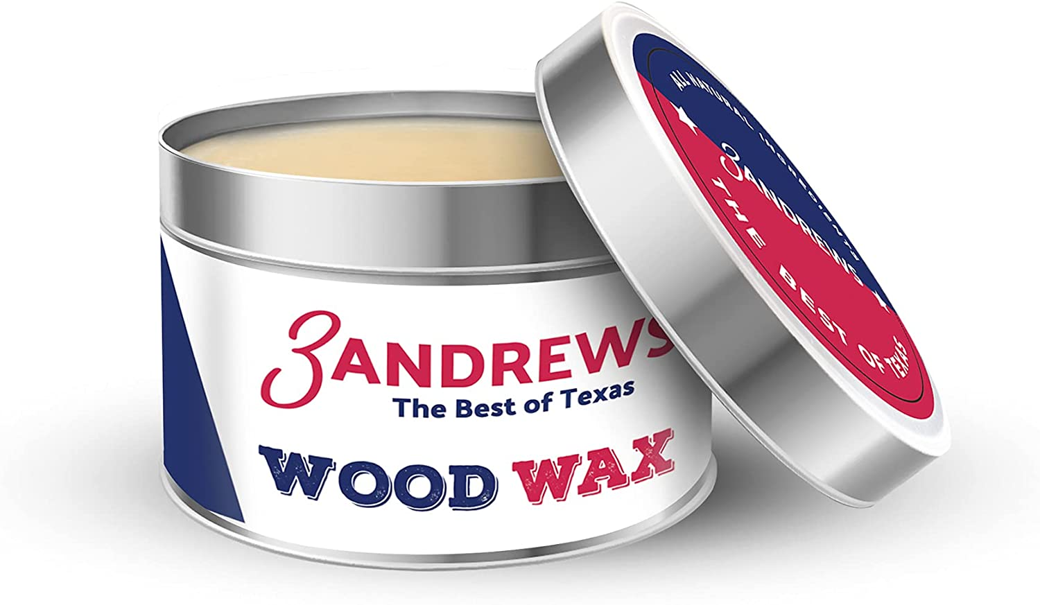 3 Andrews - Natural Beeswax Wood Polish, Wood Floor Cleaner and Furniture Polish, Wood Wax for Wood Countertop, Cutting Board, and Unfinished Wood Furniture, 7oz
