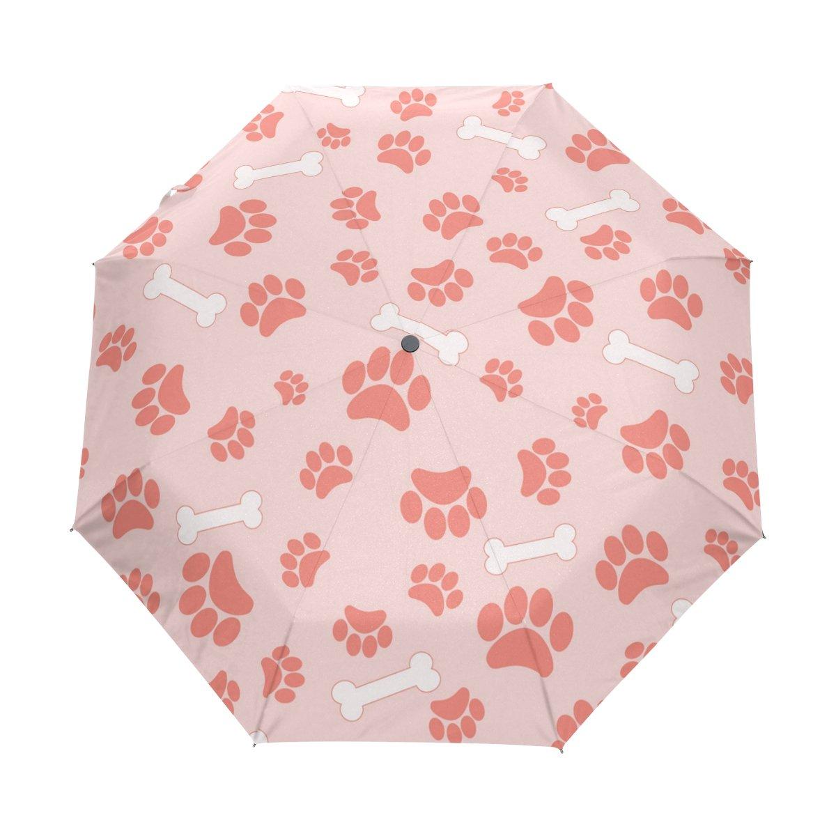 lavovo Cats Dogs Paw Footprintsとボーンパターン傘両面キャノピー自動開く閉じる折りたたみ式旅行雨傘 B076G4QWC4