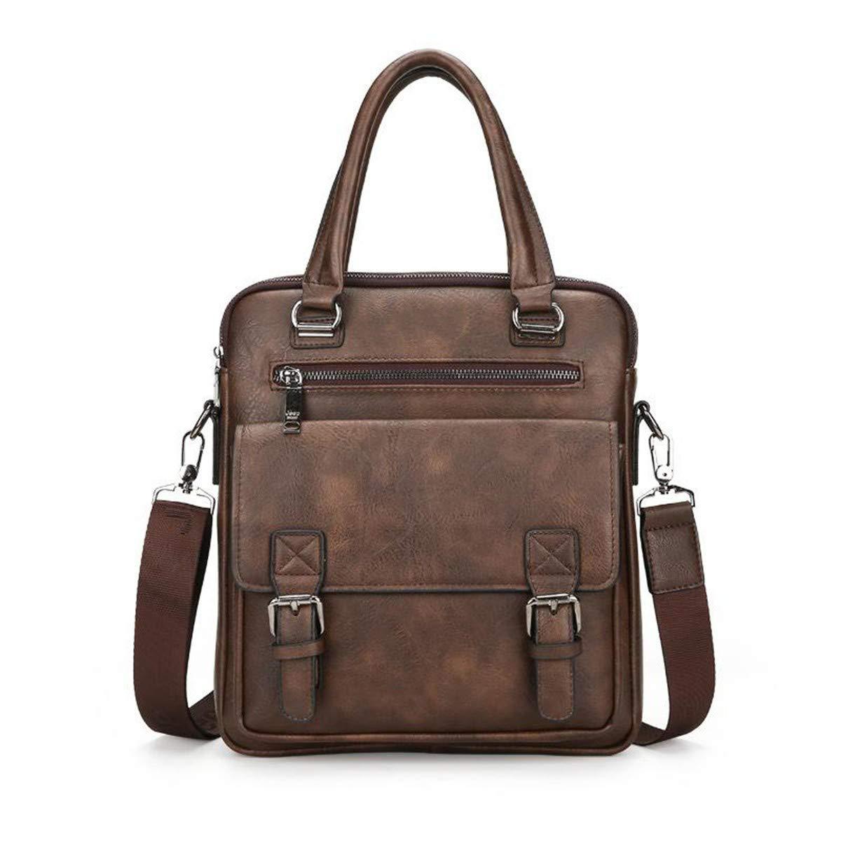 Lianai11 Laptoptasche Herren Split Leder Tote Reißverschluss Herren Geschäft Polyester Zwei Niet Tasche weichen Griff 14 Zoll Aktentasche