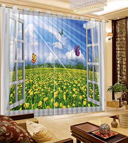 Sproud Landscape Curtain For Living Room Polyester Bedroom Curtains 3D Photo Printed Children Room Curtains Window Drapes -260Cmx300Cm by Sproud