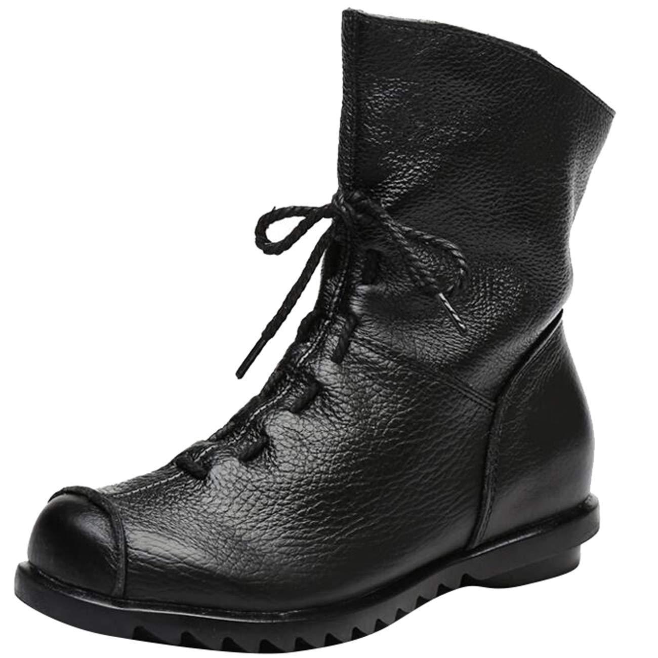 Qiusa Damen Schnürschuh mit flachem Reißverschluss und und und abgerundetem Reißverschluss (Farbe   Schwarz, Größe   3 UK) e5039c