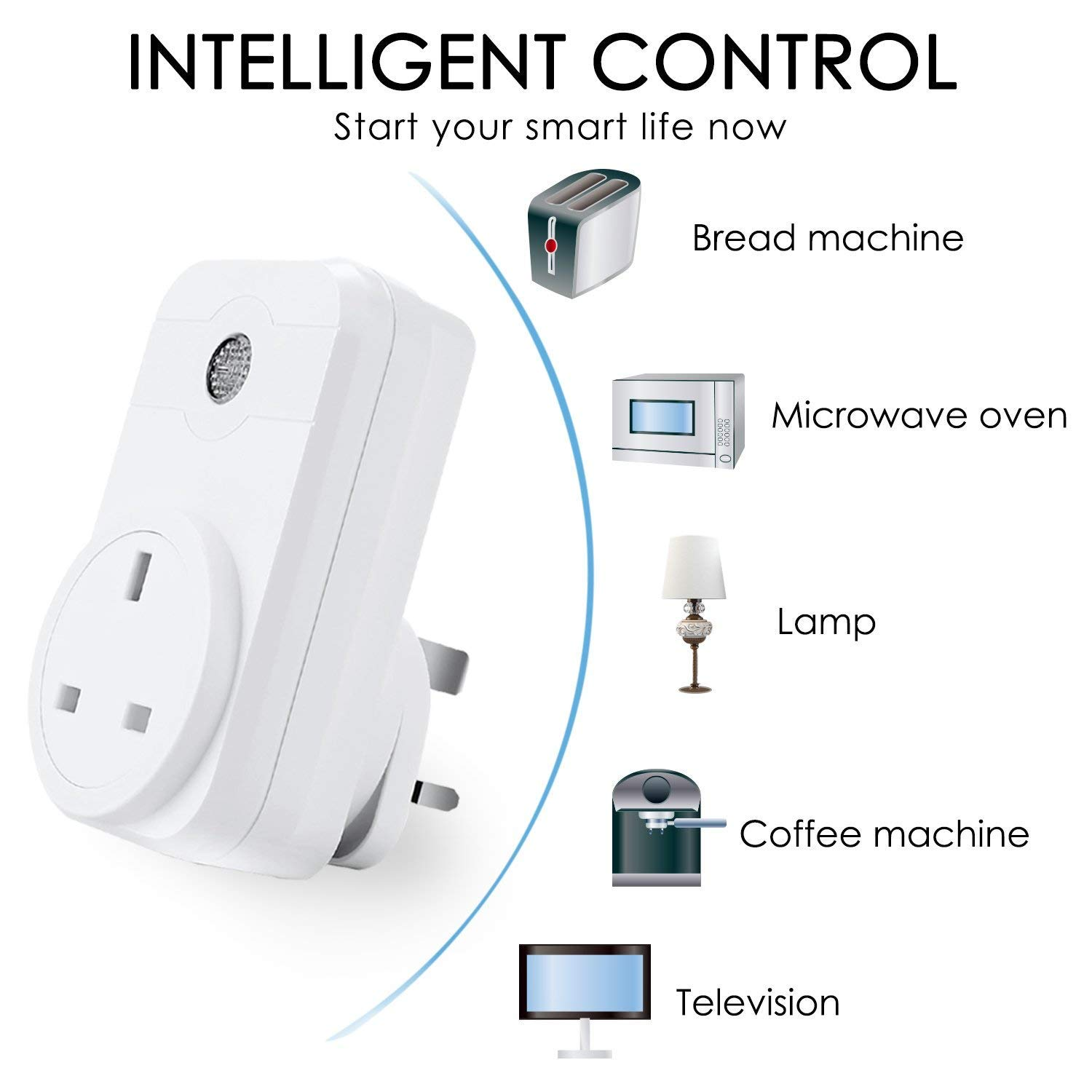 1 Pack Timing Function Energy Saving Plug No Hub Required ANEKEN Smart Plug Wifi Outlet Compatible with  Alexa Google Assistant Remote Control from Anywhere