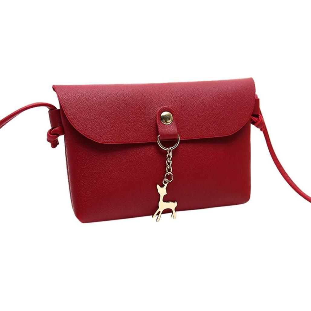 ZYooh Clearance Sale Wallet Bag Girls Vintage Small Deer Pendant Leather Crossbody Shoulder Bag (Red)