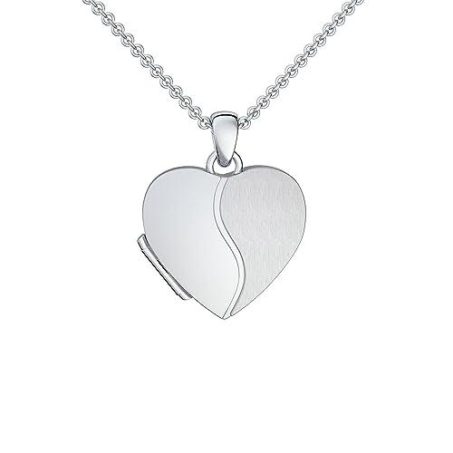 Foto Medaillon Herz Silber 925 Herzkette Herz Anhänger zum Öffnen mit Kette inkl. GRATIS LUXUS-Etui ...