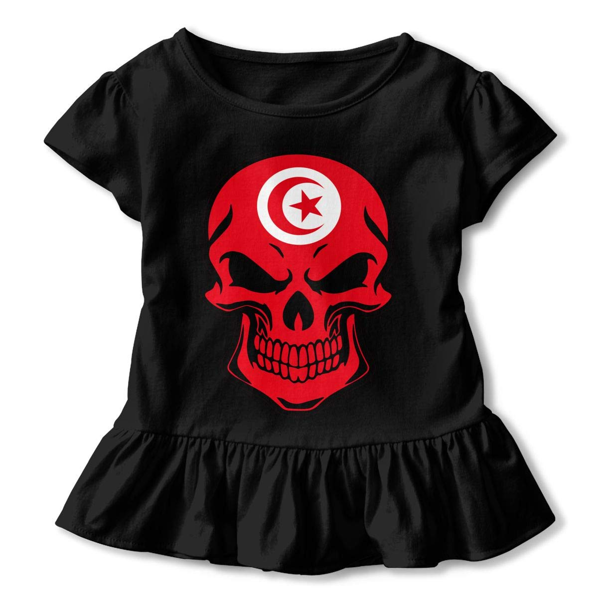HYBDX9T Little Girls Tunisia Flag Skull Funny Short Sleeve Cotton T Shirts Basic Tops Tee Clothes