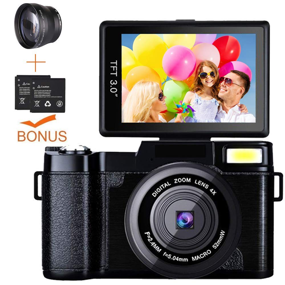 Digital Camera Camcorder, Weton Full HD 1080P 24.0MP Video Camera 3.0 Inch Flip Screen Vlogging Camera Camcorder with Retractable Flashlight for YouTube (Two Batteries Included) by weton