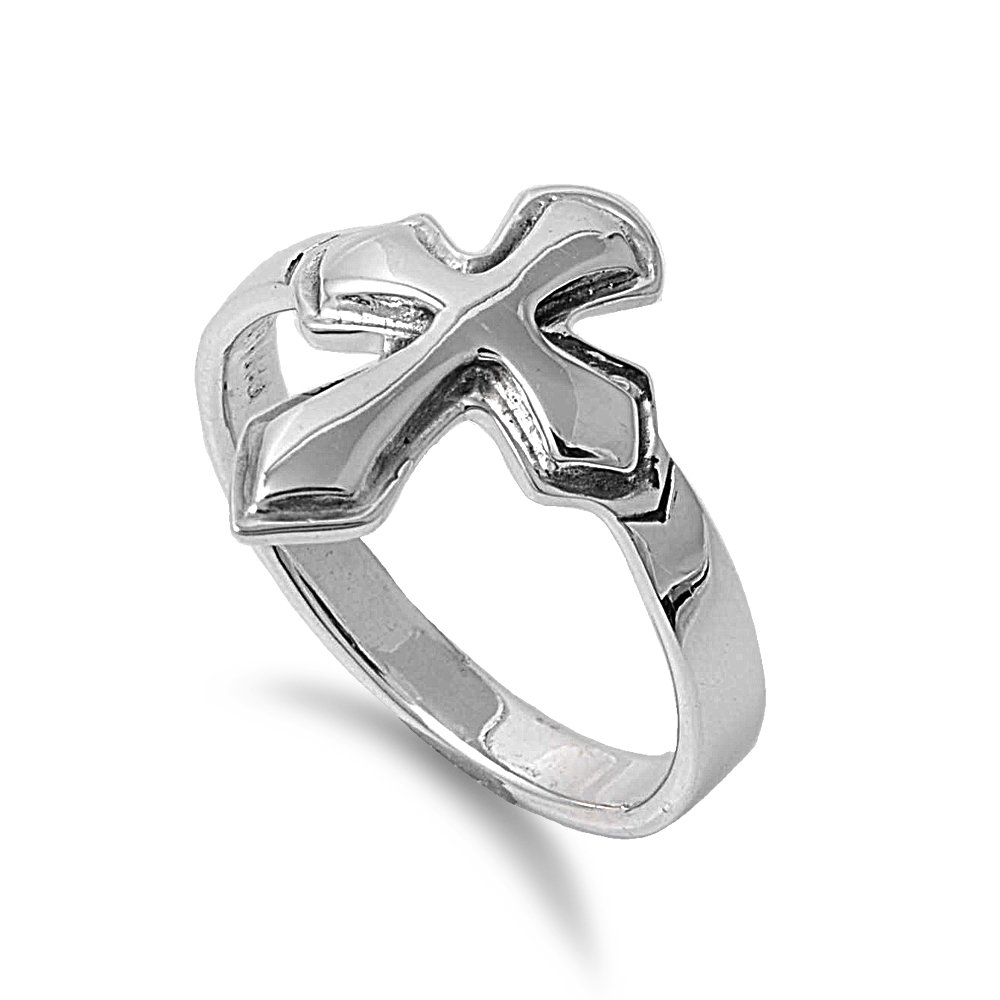 925 Sterling Silver Cross Coat of Arms Ring Size 5