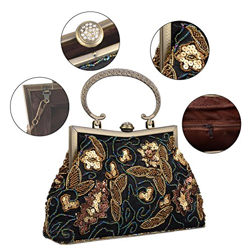 handle Black Satin Clutch Top Bag Evening Formal Vintage Beaded Sequins Lifewish Women Embroidered Prom gzwqpwZO