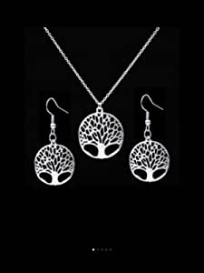 Hollow Tree Pendant Necklace & Earrings Set