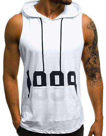 JiaMeng Camisetas Elástica de Fitness sin Mangas Tank Top Gym para Hombre Fitness Muscle Estampado sin