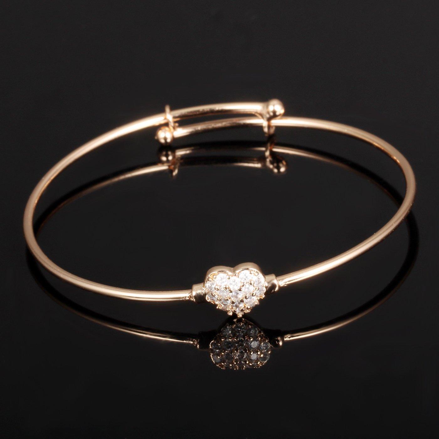 Cute Rose Gold Tone Cubic Zircon Love Heart Bangle For Children Girls Expandable Length 5.9-7.87