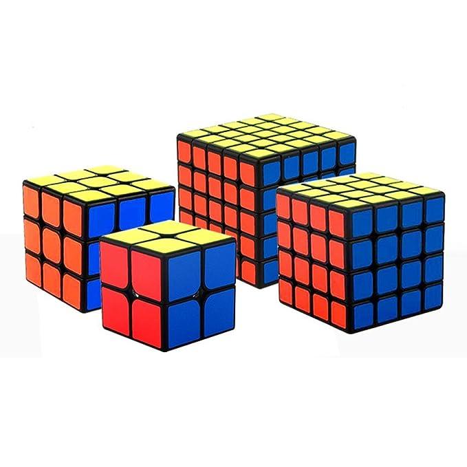 HJXDtech® Moyu cubo de la velocidad conjunto de 2x2 3x3 4x4 5x5 Negro Cubo Mágico Smooth Rompecabezas Cubo set con el embalaje de regalo