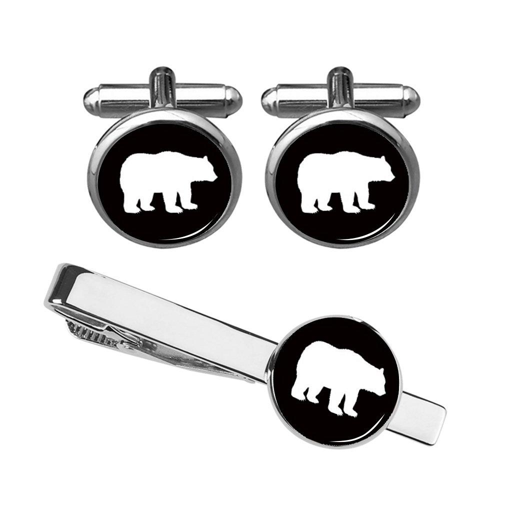 ZUNON Cufflinks Bear Cufflinks Custom Polar Bear Tie Clips Mens Dome Glass Tuxedo Animal Gummy Gift Box (Bear Cufflinks and tie clip silver)