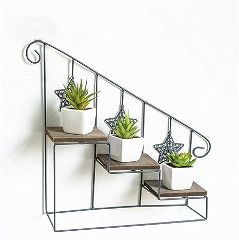 Colgador de estante de pared, estante de escalera Estantes de flores, metal de hierro Estante de flor montado en la pared Tablero de madera, para macetas de plantas Soporte de Soporte Jardín,3tiers: